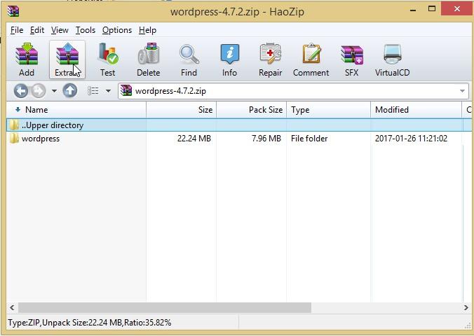 extract wordpress into folder