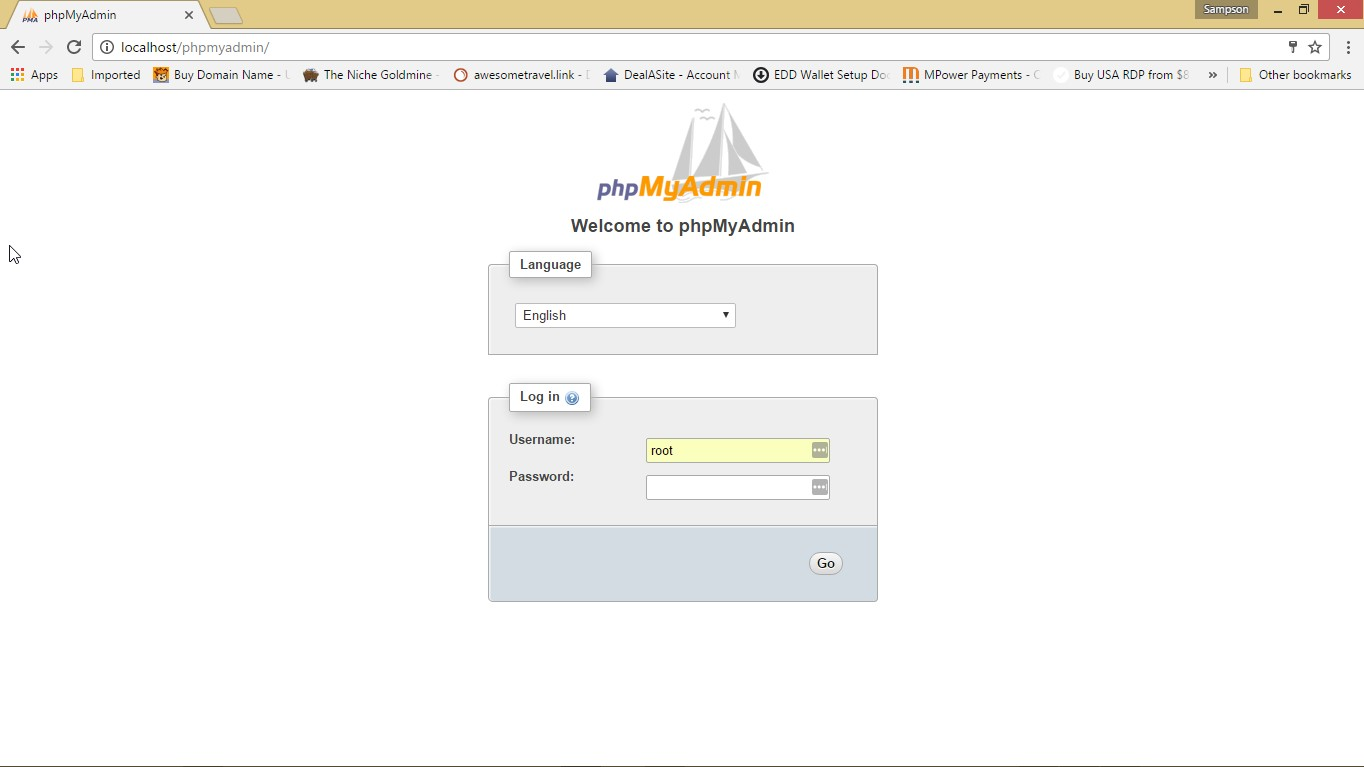 php myadmin page